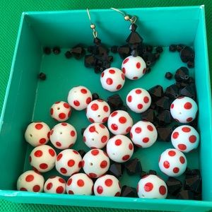 red white polka dot glass beads necklace as is